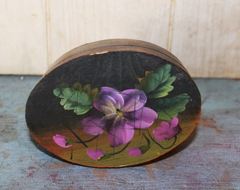 Vintage Hand Painted Violet Box - Trinket Box - Home Decor - Jewelry Box - Collectible - Shabby Chic - Balsam Wood