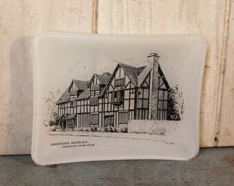 Vintage Stratford-Upon-Avon Ashtray Trinket Dish - Collectible - Shakespeare -Home Decor - England - Historical - Souvenir - Man Cave Decor