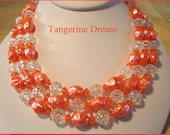Vintage Necklace Tangerine Orange & Clear Beads Clip On Earrings 1950s Mad Men