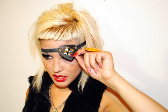 Mad Max Style Hand Dyed Black Leather with Silver Pyramid Studs Eyepatch - Stretch // OSFM // OOAK