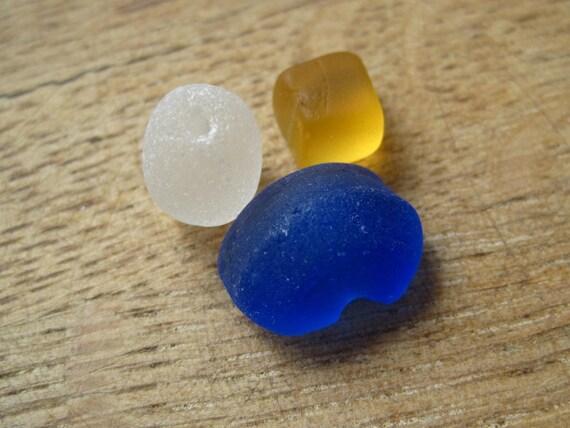 Sea Glass Jewelry Supplies Rare Seaglass Yellow, Cobalt Blue 0515-06