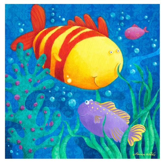 Under the Sea. Brightly Colored Fish Art Print for Baby's Nursery or Child's Bedroom