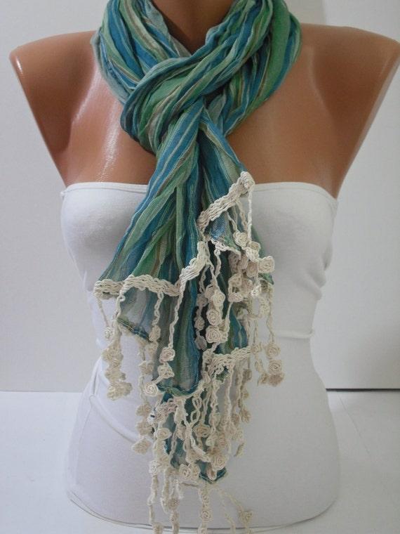 Green Elegance Shawl Scarf