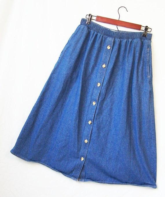 vintage blue denim midi skirt elastic waist side pockets