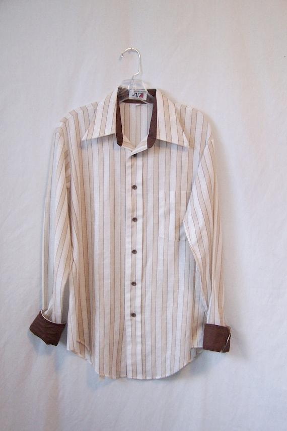 SALE 1970s mens striped shirt button down long sleeve butterfly collar Van Heusen 417 Vanopress tan white brown stripes dress shirt