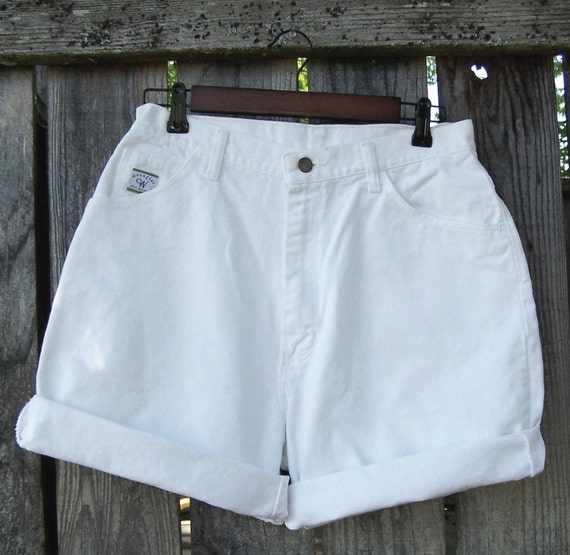 "Basic white denim high waisted shorts Wrangler for women high rise  hemmed roll up cuffs 30"" waist / Made in USA"