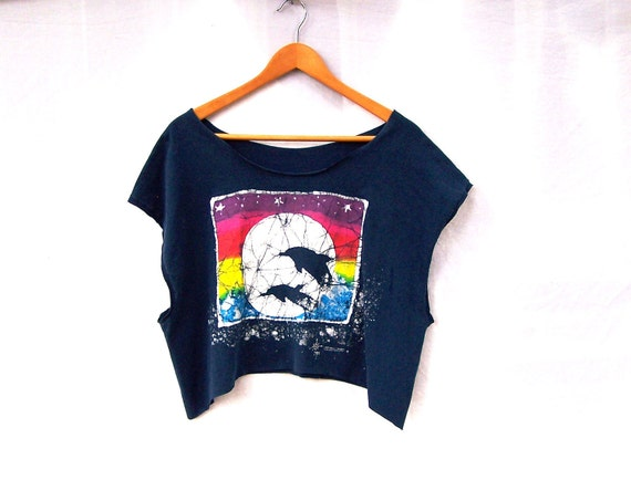 Dolphin Crop Top Tank T Shirt Upcycled Navy Blue Cropped T
