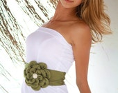 Oil-green satin flower wedding dress belt / sash
