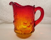 Vintage 1940s Northwood Amberina Pitcher in Red and Orange Glass