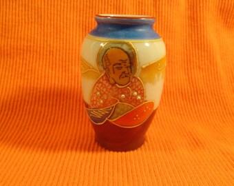 Rare 1940s Occupied Japan Miniature Vase in Orange, Blue Ceramic with Raised Handpainted Picture