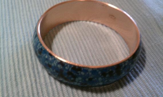 Vintage 1950s Matisse by Renoir  Deep Blue Enameled Copper Bracelet