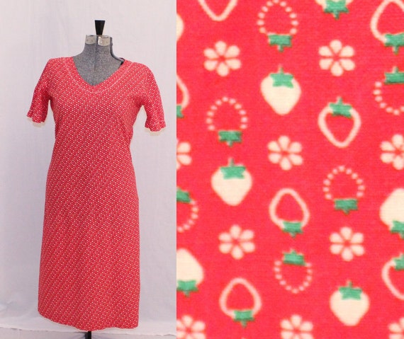Red Strawberry Short Sleeved Dress - Size Large