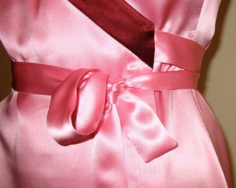 Wrap Dress, Pink Dress, Kimono Dress, Silk Dress, ColorBlock Dress, Midi Dress, Pink & Burgundy Party Dress, Knee Length Dresses, OOAK