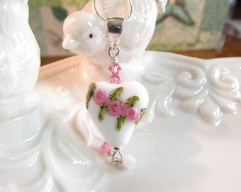 Necklace heart white with pink flowers glass art lampwork bead with crystals