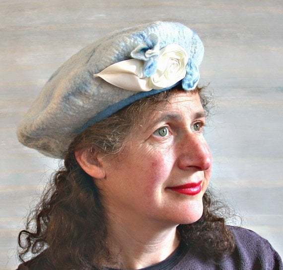 Felted Blue Hat - Wool Cloud Beret - Ribbonwork Flowers - Blue and White