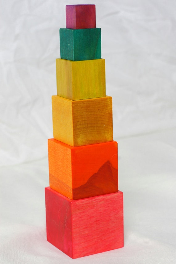 Montessori inspired rainbow block tower