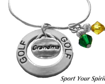 Personalized,Golf Necklace,Team Colors,Grandma Necklace,Swarovski Necklace,Golf Jewelry,Golf Mom,Golf Gift, Golf Coach,Golf,(Made to Order)