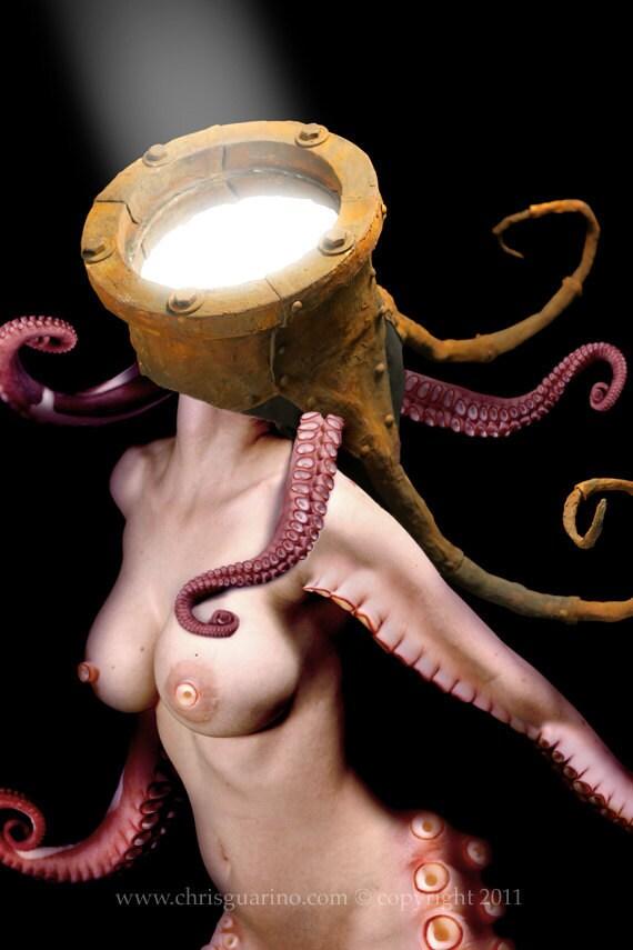 Tentacle, octopus, nude art, female nude, octopus woman, spotlight, porthole, helmet, bioshock, squid art, dark art, fantasy art,photo print