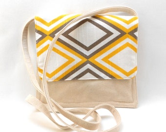 Small Shoulder  Crossover Bag Grey and Yellow