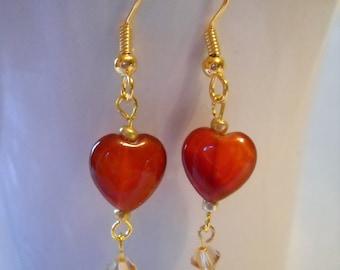 Calcite Heart Earrings in Gold