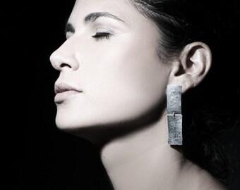 Rectangular earrings, long silver earrings, geometric earrings, hammered silver earrings, statement earrings, dangle earrings, gift for her