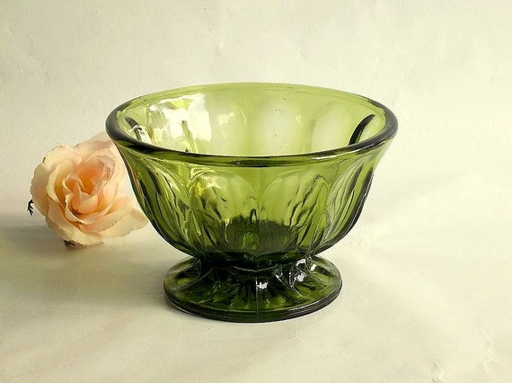 Vintage 1970's Anchor Hocking Avocado pedestal dish, sauce bowl, nut dish, serving dish
