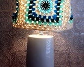 Lampshade Hippie Granny Square Crochet Wavy Off White Blue Mint Green Housewares Home Decor Lighting