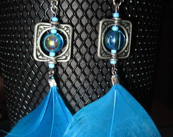 Totally Turquoise- Feather Earrings