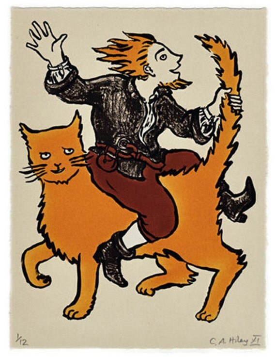 Mad Tom & Cat - limited edition stone lithograph, Tom o'Bedlam, ginger cat, tomcat, lunatic, folklore, folk song, English, madness, fanstasy