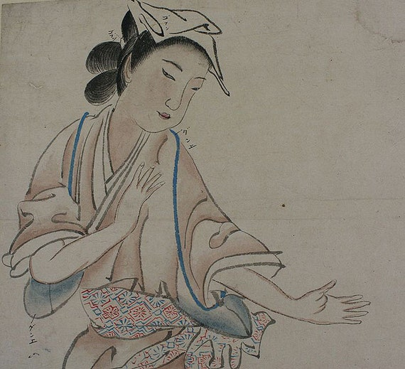 Antique Japanese Art Painting Comic Picture, Bijin-ga Beautiful Woman by Okyo - 110730
