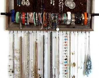 13x23 Custom Barn Wood Frame Jewelry Organizer