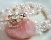 Pink White AA Freshwater Pearl Necklace Gemstone Rose Quartz Rock Crystals Stones Two Strands & Sterling Silver Heart Toggle Clasp