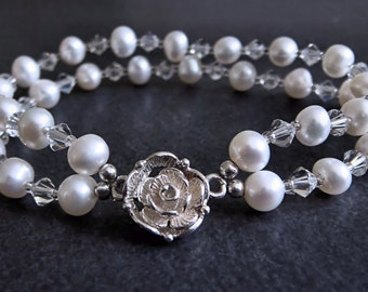 White AA Cultured Pearl Bracelet Fully Sterling Silver, CRYSTALLIZED Swarovski Elements, Rose Toggle Clasp