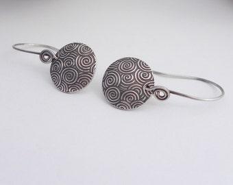 Fine Silver Metal Clay Earrings, Swirls, PMC