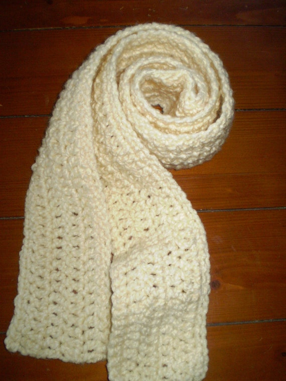 CLEARANCE ITEM / UNISEX Crocheted Scarf, Neck Warmer Scarf - Warm, Simple Style - Cream Color / Was 10.00, now 8.00
