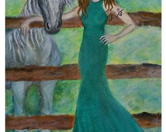 Epona, Irish Goddess Of Horses, An Original Fine Art 8 by 10 print by Charlotte Phillips