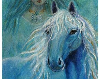 "8 x 10 Original Fine Art Blue Equestrian Print called ""Rhiannon"", Horse and Lady Portrait, Fleetwood inspired, Modern Art, Stevie Nicks"
