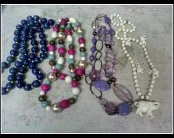 Necklace..5 Colorful And Fun Beads.....Elephant Too...