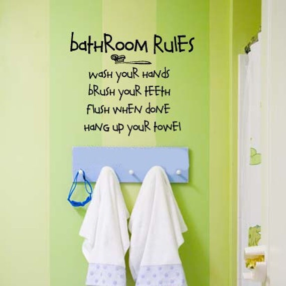 Items Similar To Bathroom Rules Kids Bathroom Vinyl Wall Lettering Decal On Etsy