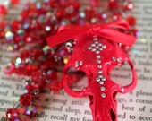 Red Muskrat Skull Necklace encrusted with Swarovski Crystals