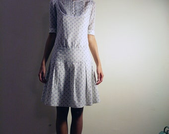 Sales... reduced price, Floral Dress, Soft Cotton Floral lilac Dress with lace, white trim