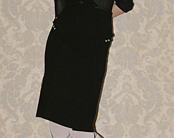 1930s inspired Black Blouse, Silk Blouse, inspired by 1920s, Made to order.