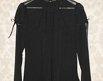 Black puff sleeves blouse, silk georgette, Made to order