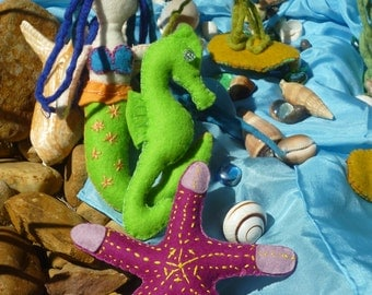 Waldorf Steiner hand made under the sea felt play set-mermaid, seahorse, starfish, sea plant & blue play silk. Made to order.