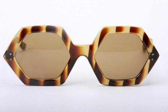 free shipping exclusive astonish big and hexagonal Italy  handmade celluloid sunglasses in tortoise patter free shipping