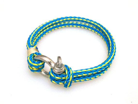 Nautical Sailing Bracelet  Stainless steel  Shackle-Paracord Bracelet-Rope Bracelet-BLUE