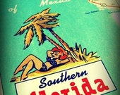 vintage map 8x10 Florida print SUNSHINE STATE  Gulf  travel vacation fun summer art aqua red yellow retro picture nostalgia