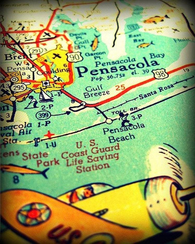 map decor print pensacola beach retro florida