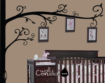 """Photo Tree Wall Decal -  Frame Hanging Tree Wall Sticker - Corner Tree decal - Large: approx 98"""" x 98"""" - W025"""