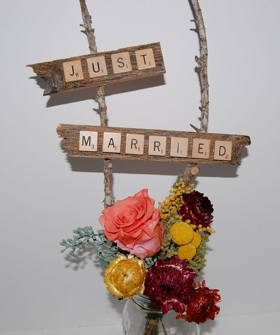 Just Married Table Centerpiece Signs - Scrabble Pieces on Reclaimed Wood